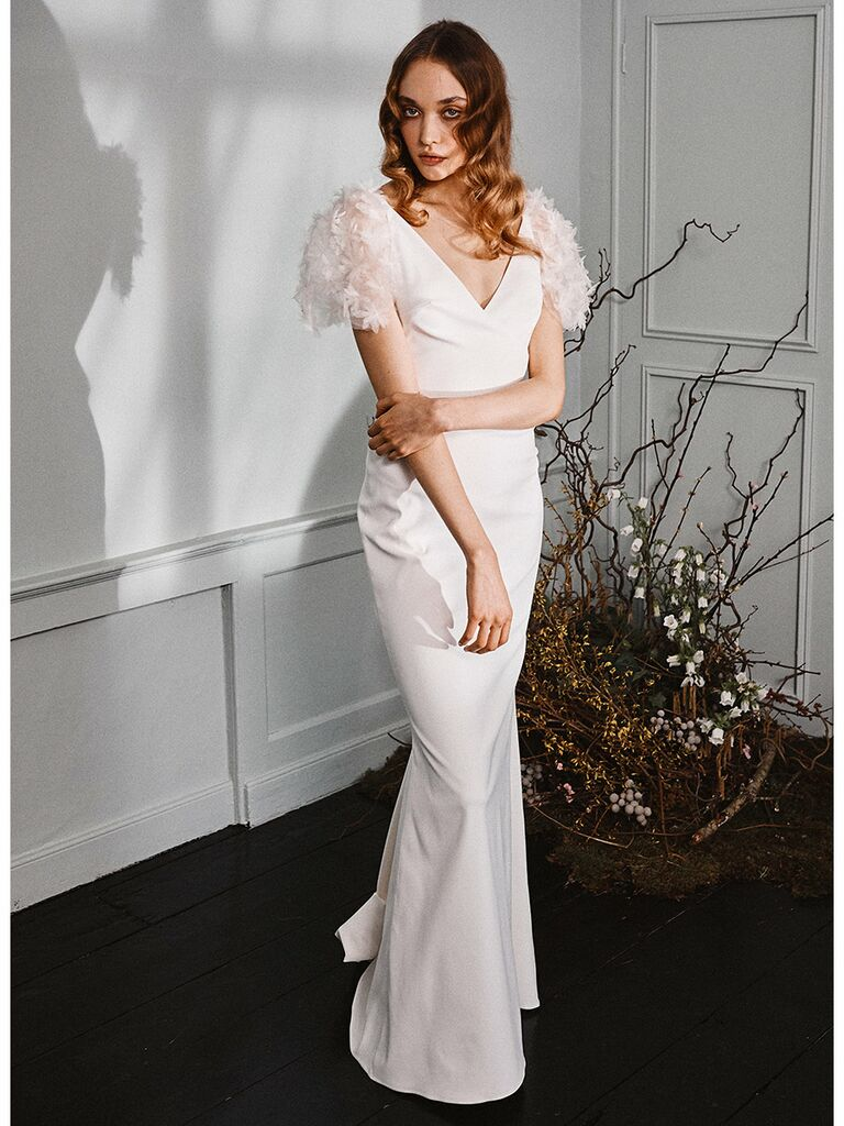 Halfpenny London wedding dress trumpet gown with sheet flutter sleeves