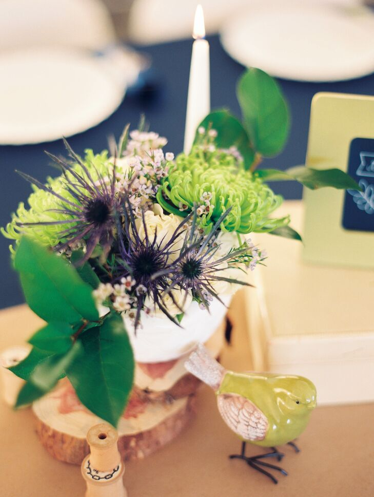 Blue Thistle and Pincushion Protea Centerpieces