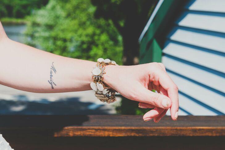 White Gem and Crystal Bracelet