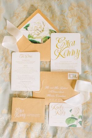 Whimsical Gold Wedding Invitations