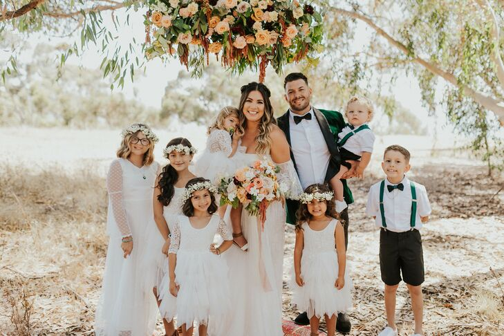 Family Photo on Wedding Day With Small Kids in San Diego, California