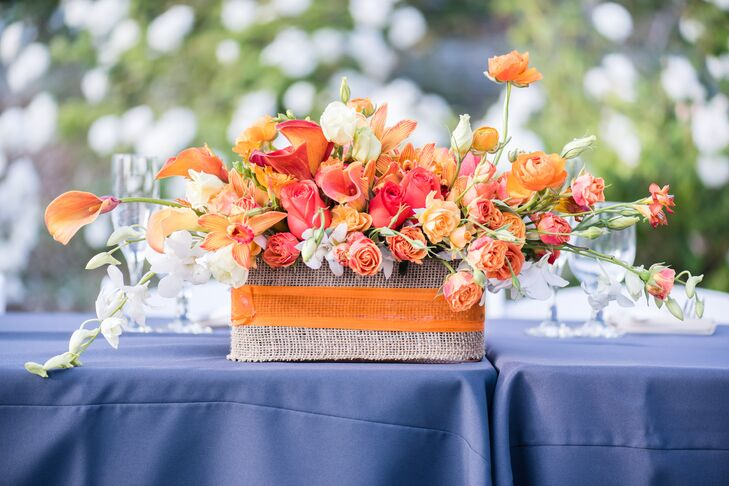 Orange Calla Lily, Rose, and Orchid Centerpiece with Accents of Pink and White