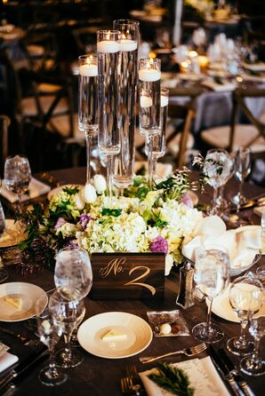Ivory, Green and Lavender Centerpieces