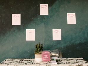 Modern Paper Seating Charts on Galaxy-Inspired Wall