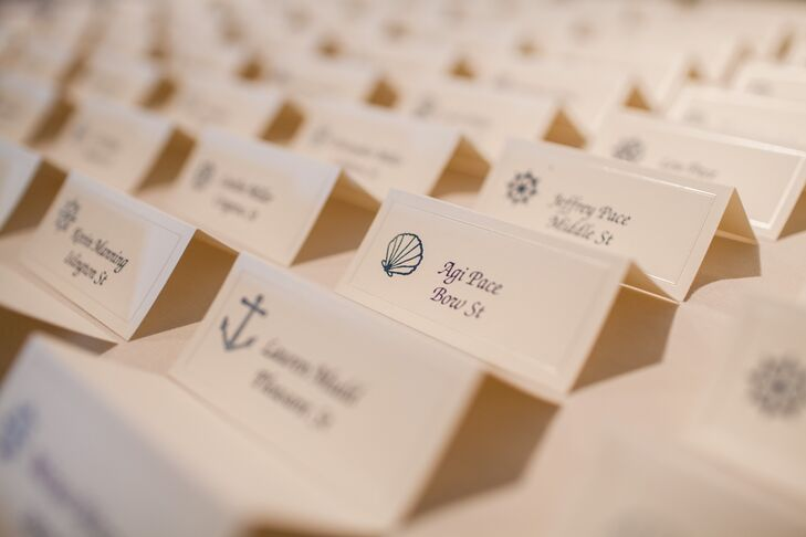 The white escort cards had small nautical illustrations next to the guests' names.