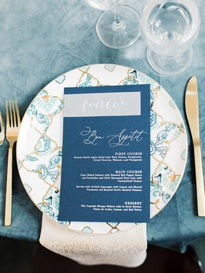 Blue Menu Cards at North Carolina Wedding at The Merrimon-Wynne House