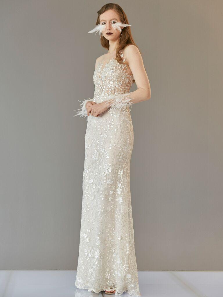 Francesca Miranda Spring 2020 Bridal Collection embroidered column wedding dress with sheer long sleeves