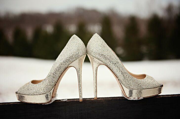 Silver Jimmy Choo Heels for Winter Wedding