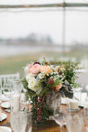 Low Rustic, Peach Garden Rose and Eucalyptus Centerpiece