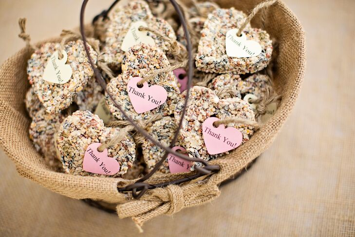 At the end of the evening, guests were thanked with hanging bird seed hearts.