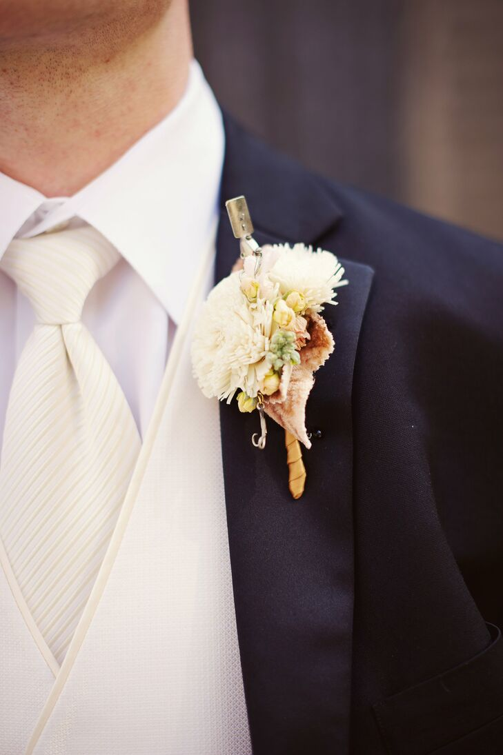 Tyler loves to fish, so the florist added a fishing lure to his balsa-wood-bloom boutonniere.