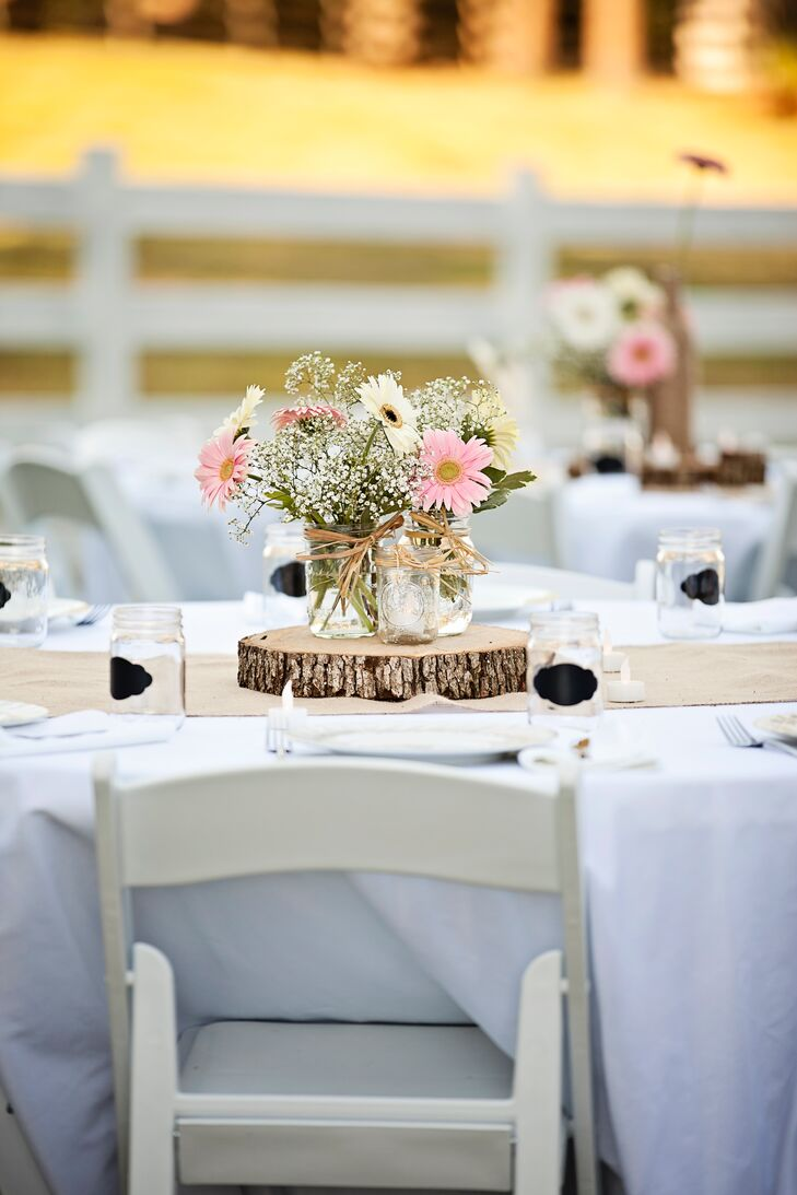For their September nuptials, the couple decided on a soft color palette of petal pink and chocolate brown.