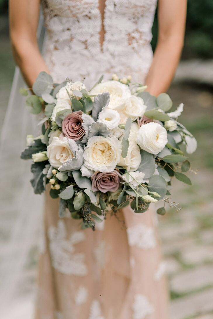 Elegant Vintage Bouquet of White and Mauve Roses and Eucalyptus Leaves