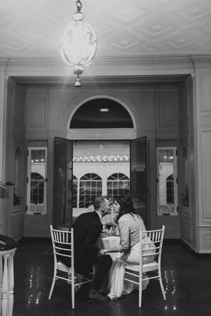 Couple at Sweetheart Table at The Mansion at Harkness State Park in Waterford, Connecticut