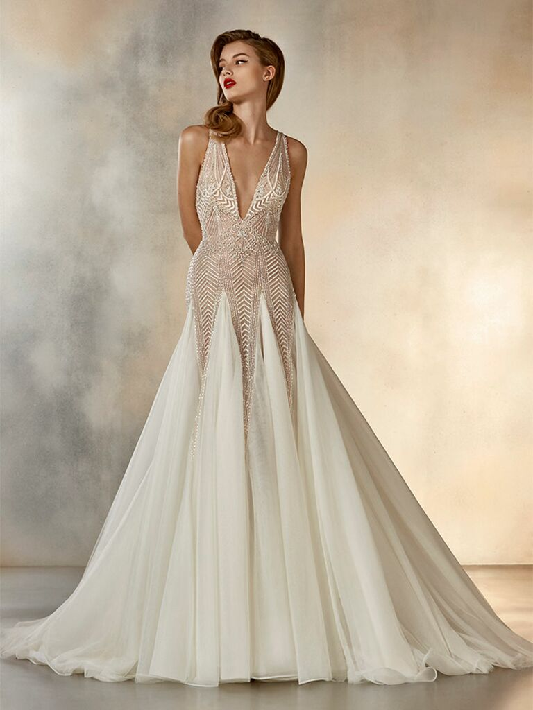 Atelier Provonias wedding dress trumpet gown with tulle skirt