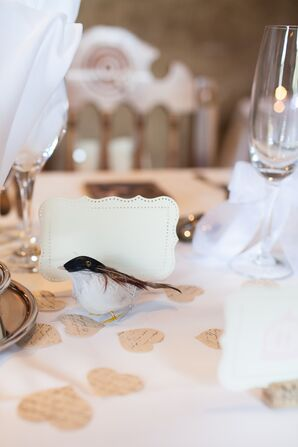 Artificial Bird and Paper Hearts Centerpieces