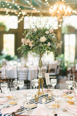 Lush Rose and Greenery Centerpiece on Tall Vintage Stand