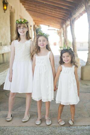 White Cotton Flower Girl Dresses
