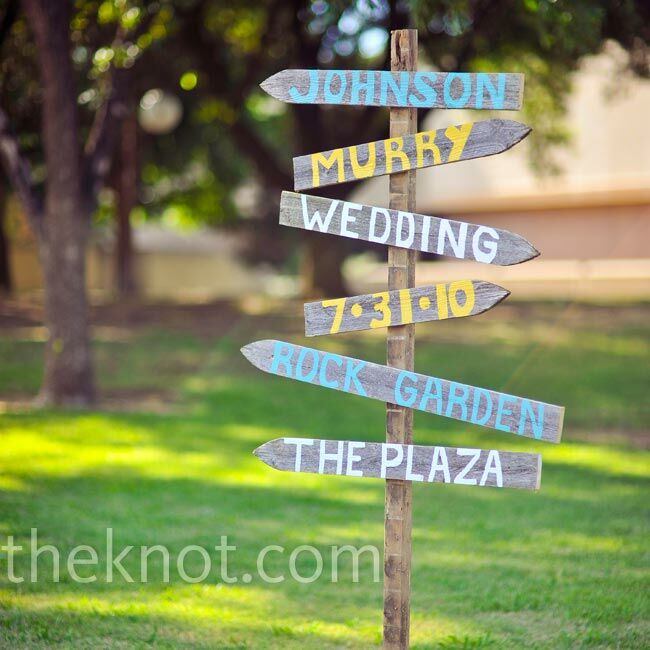 Friends and family created a colorful sign to direct guests around the property.