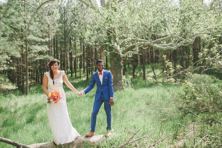 The bride wanted to feel comfortably and authentically herself, so she went with a looser-fitting sheath Claire Pettibone gown -- without shoes!