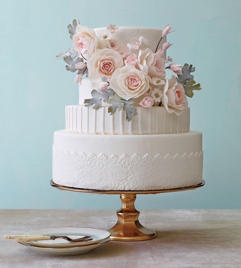 White On Wedding Cake With Sugar Flower Details