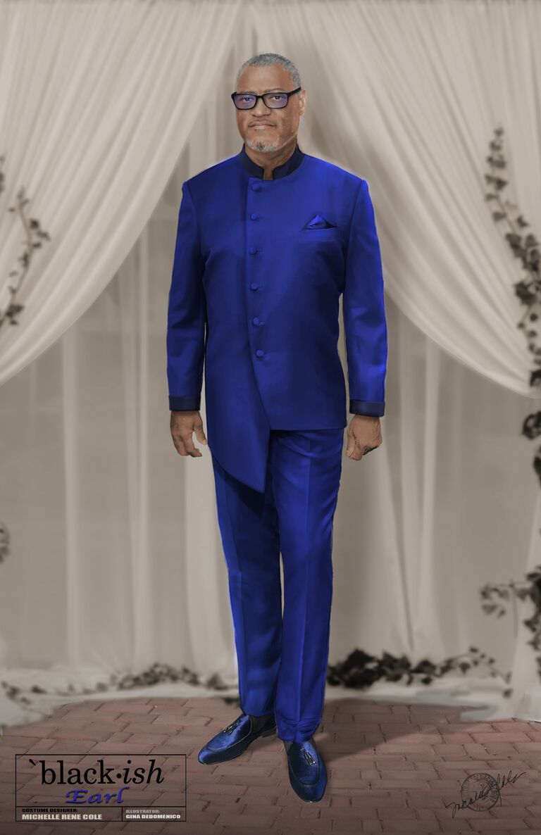 blackish pops wedding outfit