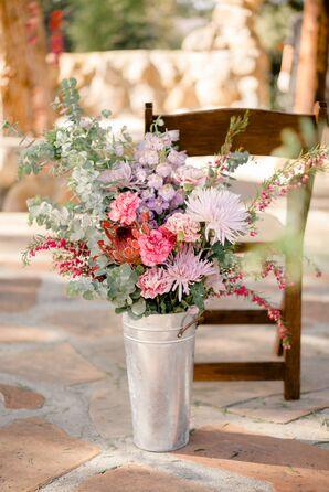 Eucalyptus, Delphinium and Chrysanthemum Arrangement in Galvanized Vase