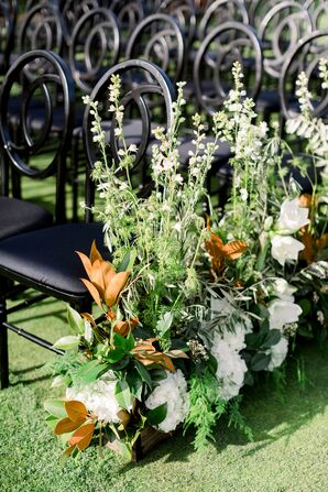 Art Deco Chairs and Gardenia and Magnolia Leaf Aisle Arrangements