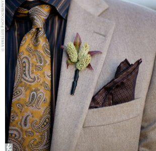 The grooms donned nature-inspired boutonnieres. Their florist gathered elements like sweetgum leaf and grass seed heads.