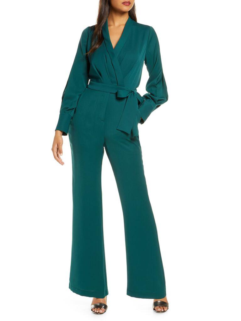 what wear winter wedding – Green winter wedding guest jumpsuit with tie waist