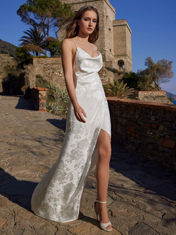 Ines by Ines Di Santo cowl neck wrap gown