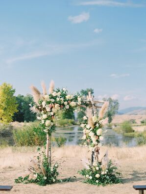 Natural and Bohemian Ceremony Arch with Flowers