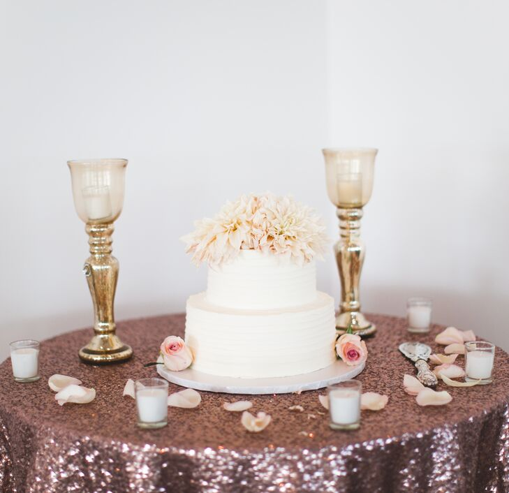 Simple Buttercream Cake on Pink Sequined Linen