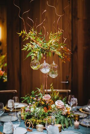 Natural Tall Centerpieces of Leaves, Berries and Roses
