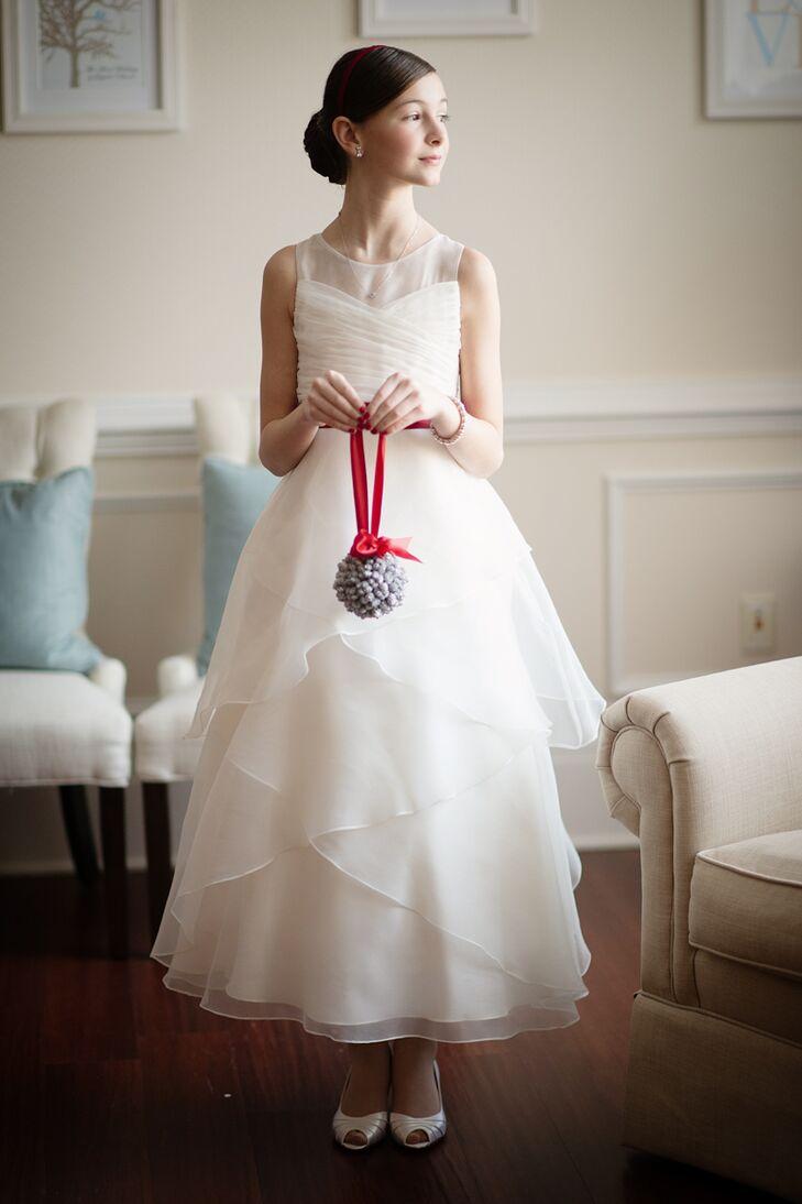 Tiered Ivory Flower Girl Dress
