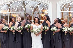 Bridesmaids in Long Black Dresses at Estate Wedding in New Jersey