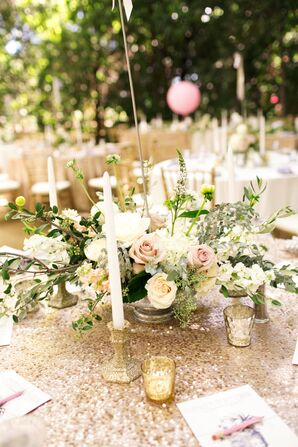 Neutral-Colored Overflowing Flower Centerpiece