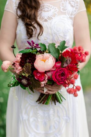 Bright Bouquet with Peonies, Garden Roses, Clematis and Thistle