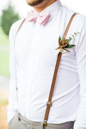 Green and Red Succulent Boutonniere