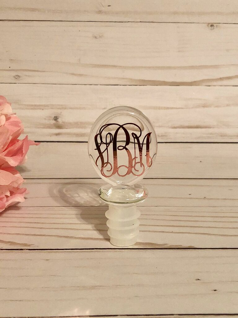 monogram rose gold bottle stopper