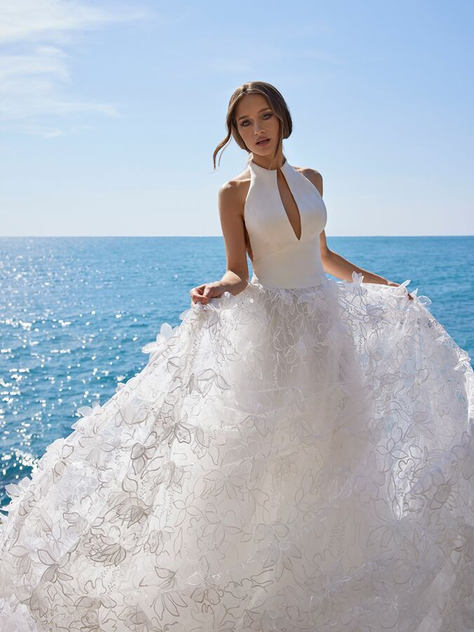 Ines by Ines Di Santo sleeveless A-line wedding dress with 3D floral skirt