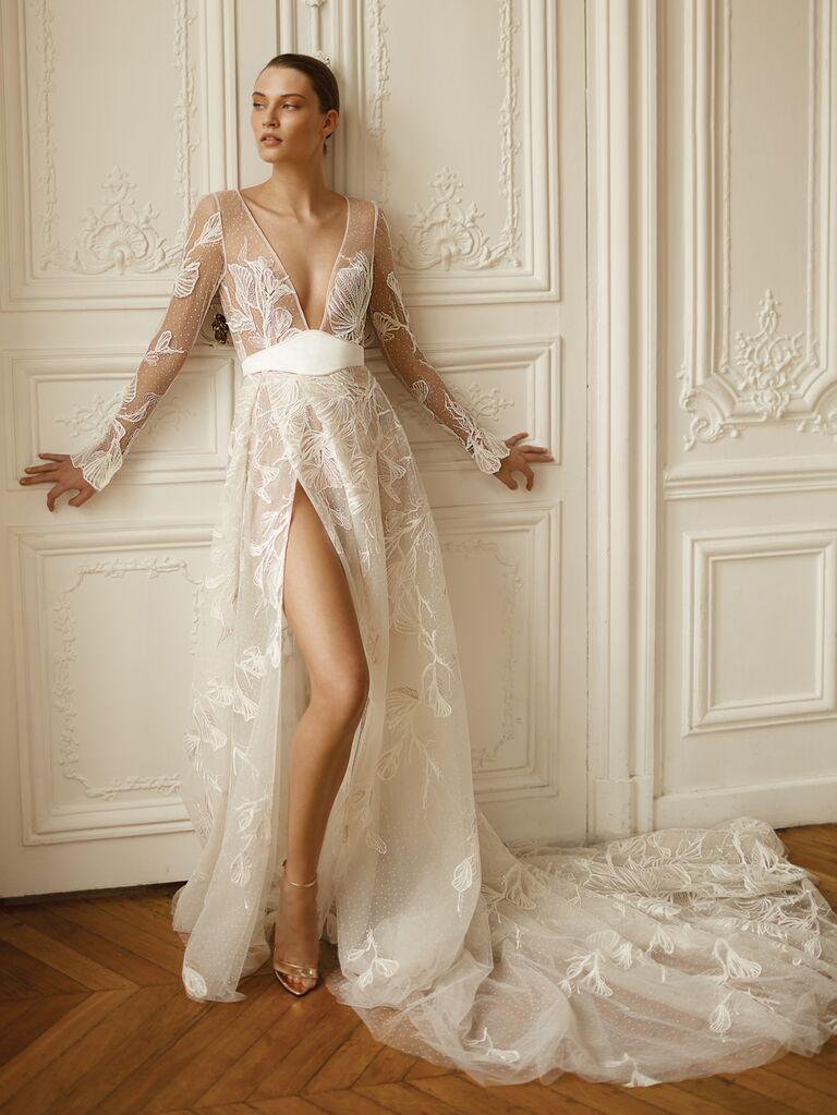 Dana Harel Spring 2020 Bridal Collection sheer wedding dress with long sleeves and high leg slit