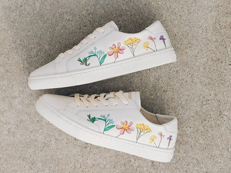 White wedding sneakers with pretty floral motif