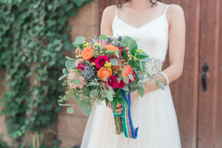 Rainbow-Colored Bouquet with Cusco Ribbon
