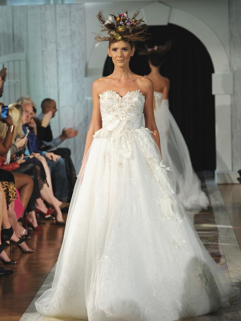 Dany Mizrachi Fall 2019 strapless wedding dress with 3D florals