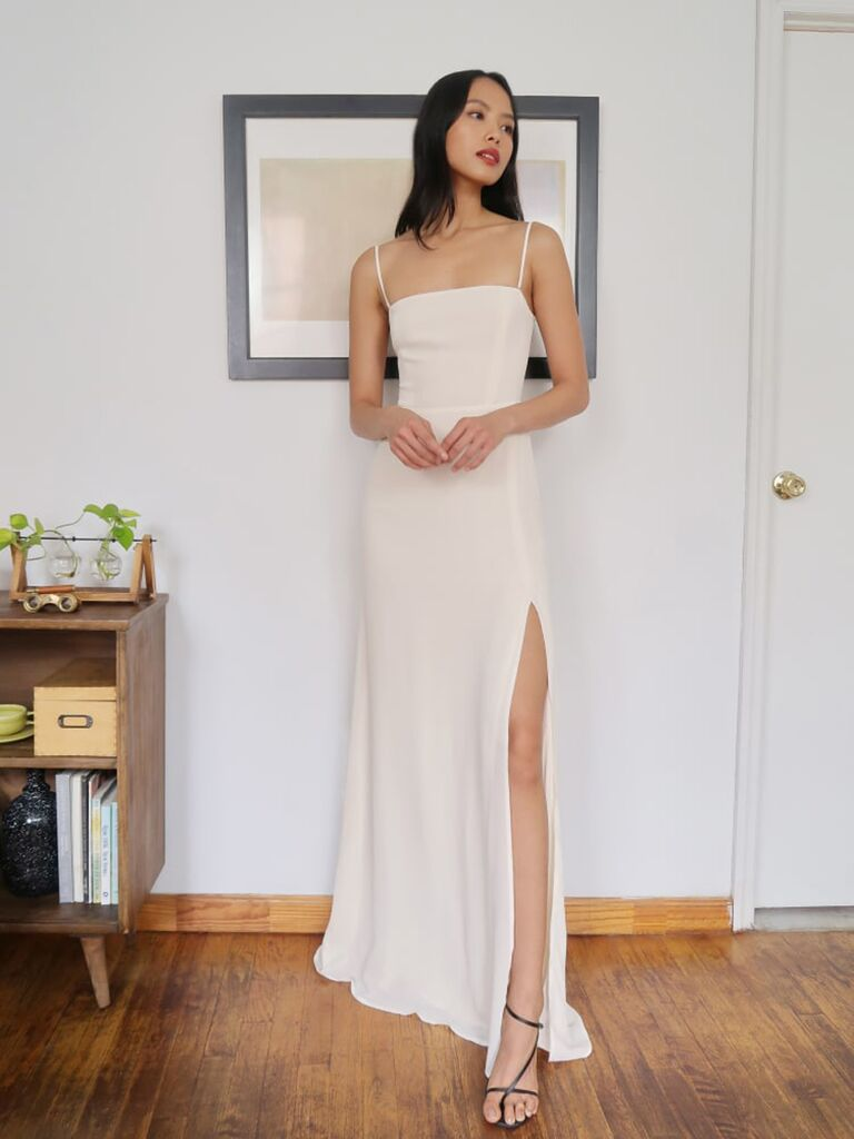 Casual ivory wedding dress with removable straps and slit