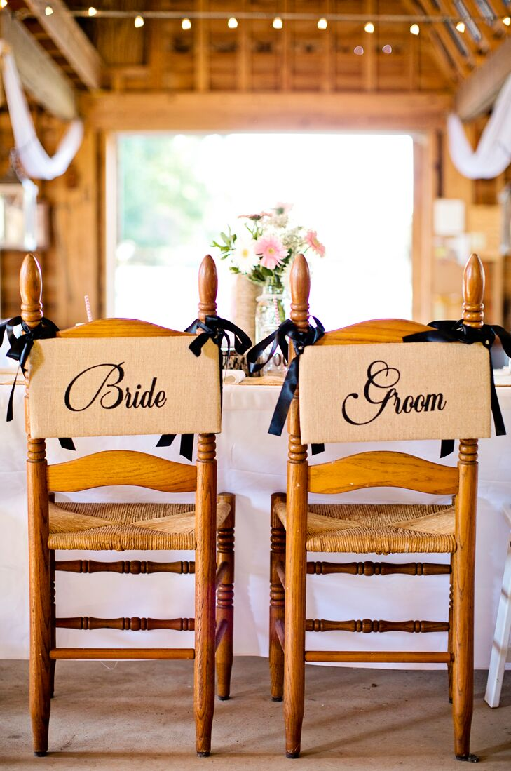 The rustic wedding decor included burlap and DIY accents.