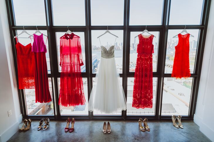 """I am very fortunate that they all have excellent style and taste,"" Lauren says of her five bridesmaids. She chose a dress for each friend that she felt best represented the woman's style."