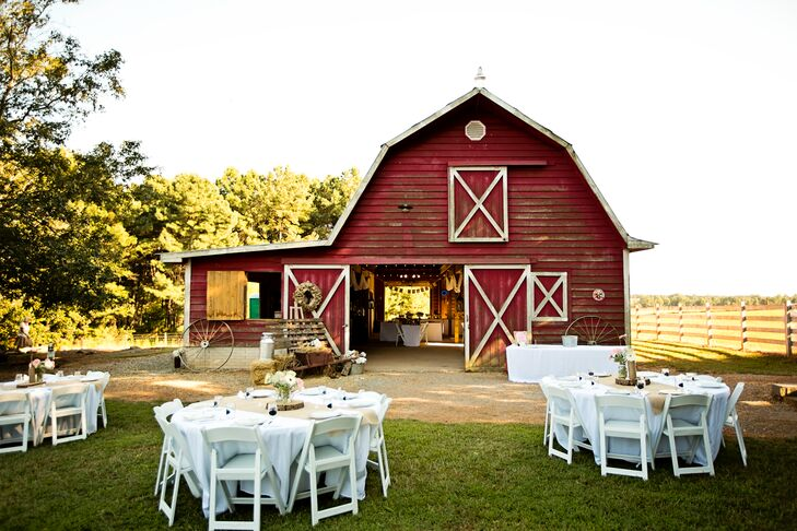 The casual reception was held inside the barn with tables spilling onto the lawn for a low-key celebration.