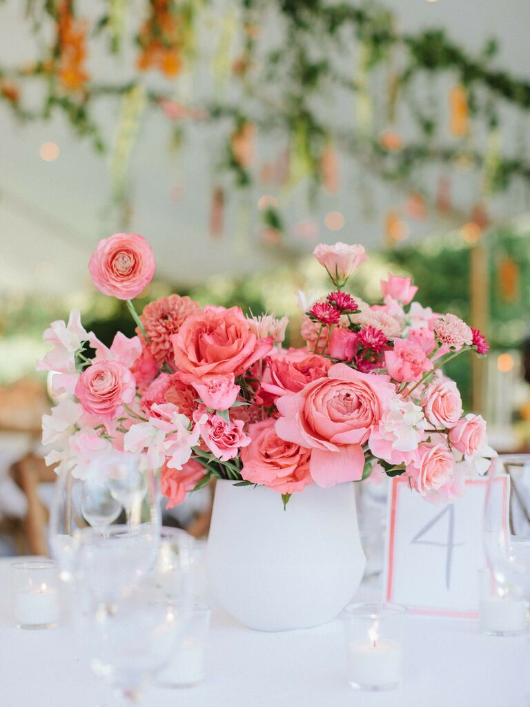 spring wedding centerpieces bright pink floral arrangement